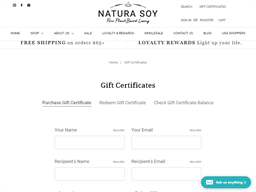 Natura Soy Candles gift card purchase