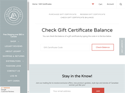 LegArt Apparel gift card balance check