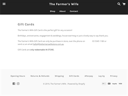 The Farmer's Wife gift card purchase
