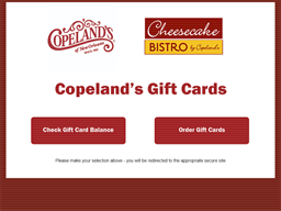 Copeland's Cheesecake Bistro gift card purchase