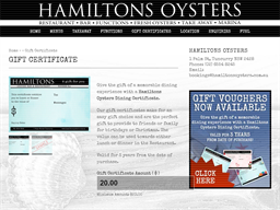 Hamiltons Oysters Bar and Restaurant gift card purchase