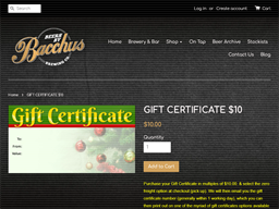 Bacchus Brewing gift card purchase