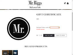 Mr. Riggs Wine Co. gift card purchase