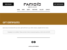 Parisis gift card purchase