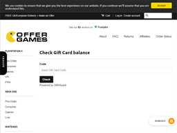 Offer Games gift card balance check