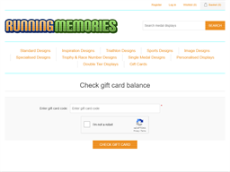 Running Memories gift card balance check