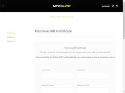 MCG Shop gift card purchase