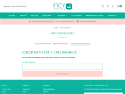 Incy Interiors gift card balance check