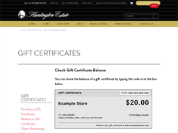Huntington Estate Wines gift card balance check
