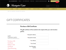 Huntington Estate Wines gift card purchase