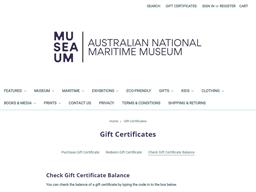 Australian National Maritime Museum gift card balance check