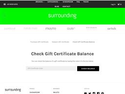 Surrounding gift card balance check