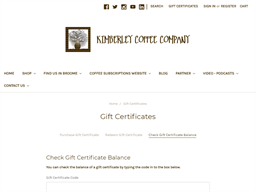 Kimberley Coffee Company gift card balance check