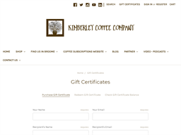 Kimberley Coffee Company gift card purchase