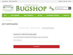 Minibeast Wildlife Bug Shop gift card balance check