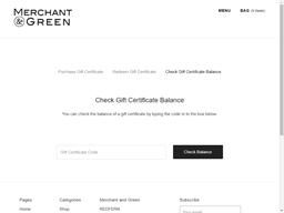 Merchant and Green gift card balance check