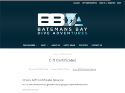 Batemans Bay Dive Adventures gift card balance check