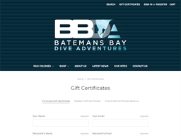 Batemans Bay Dive Adventures gift card purchase
