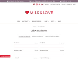Milk and Love gift card purchase