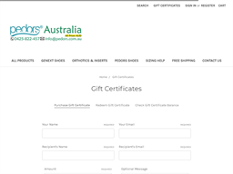 Pedors Shoes Australia gift card purchase