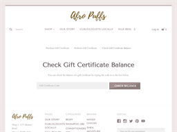 Afro Puffs Store gift card balance check