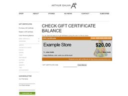 Arthur Galan AG online gift card balance check