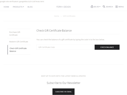 Form + Design gift card balance check