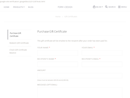 Form + Design gift card purchase