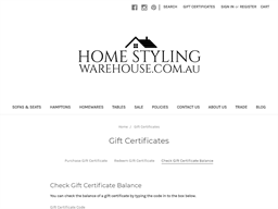 Home Styling Warehouse gift card balance check