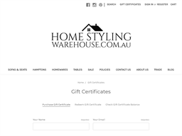 Home Styling Warehouse gift card purchase