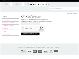 Bendon Lingerie gift card balance check