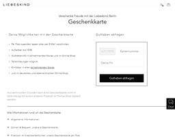 Liebeskind gift card balance check