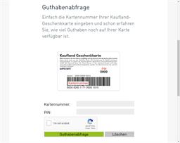 Kaufland gift card balance check