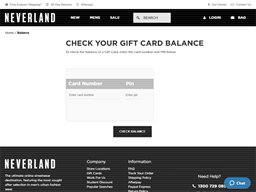 Neverland Store gift card balance check