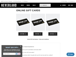 Neverland Store gift card purchase