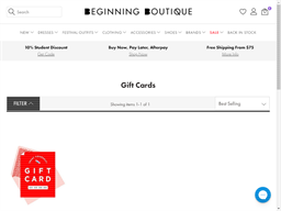 Beginning Boutique gift card purchase