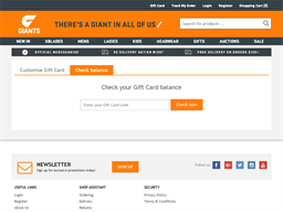 GWS Giants Shop gift card balance check