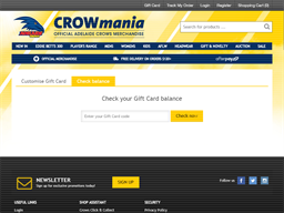 Adelaide Crows Football Club gift card balance check