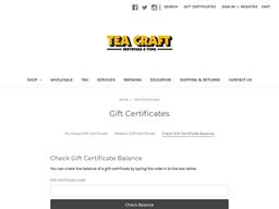 Tea Craft gift card balance check