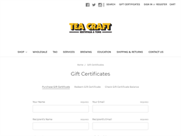 Tea Craft gift card purchase