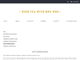 High Tea with Mrs Woo gift card purchase