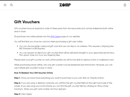 Zomp gift card purchase