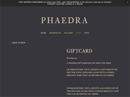 Phaedra gift card purchase
