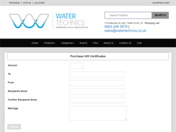 Water Technics gift card purchase