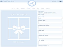 Blue Almonds gift card purchase