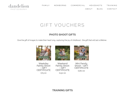Dandelion Photography gift card purchase