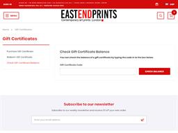 East End Prints gift card balance check