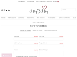 Itsy Bitsy gift card purchase
