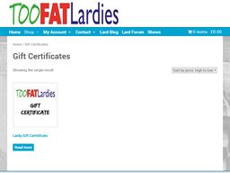 Too Fat Lardies gift card purchase