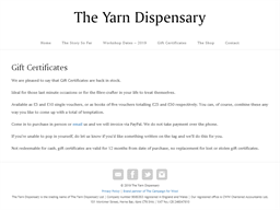 The Yarn Dispensary gift card purchase